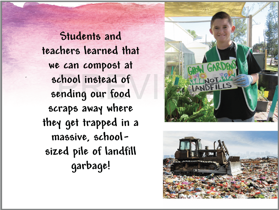 Slide showing student composting