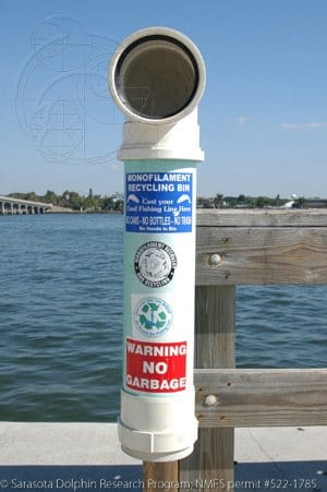 Monofilament Recycling Station on the Siesta Key Bridge