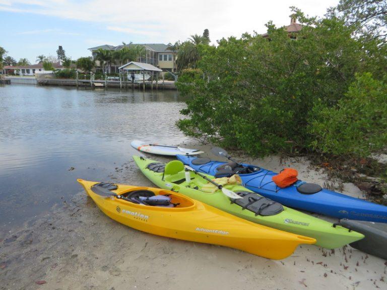 Kayaks on the bank of Bowlees Creek