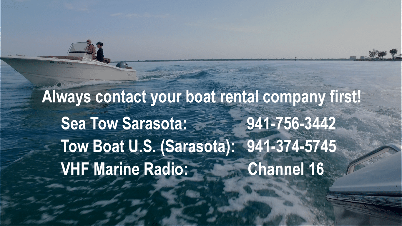 Phone numbers for boat towing superimposed over an image of a boat cruising
