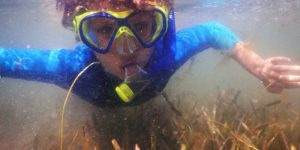 Boy underwater in snorkel mask