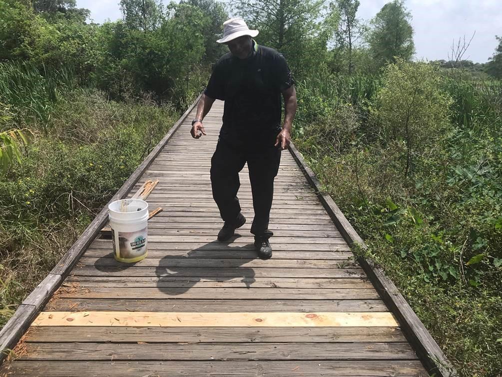 Jake Jacob Repairing Boardwalks At Jiggs Landing.