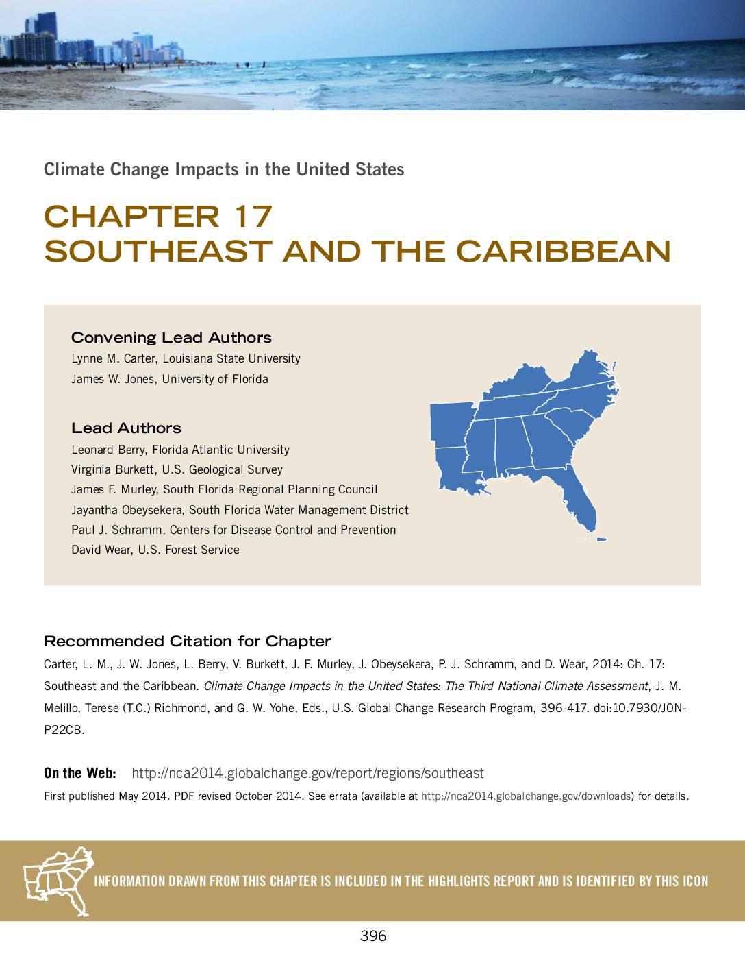 National Climate Assessment: Climate Change Impacts in the Southeast and Carribbean (2014)