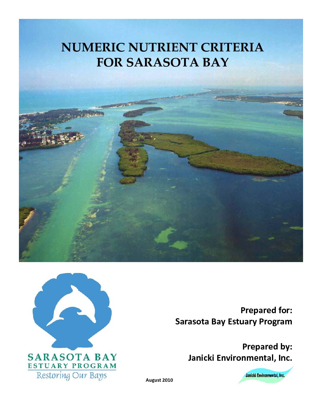 Sarasota Bay Numeric Nutrient Criteria Final Report