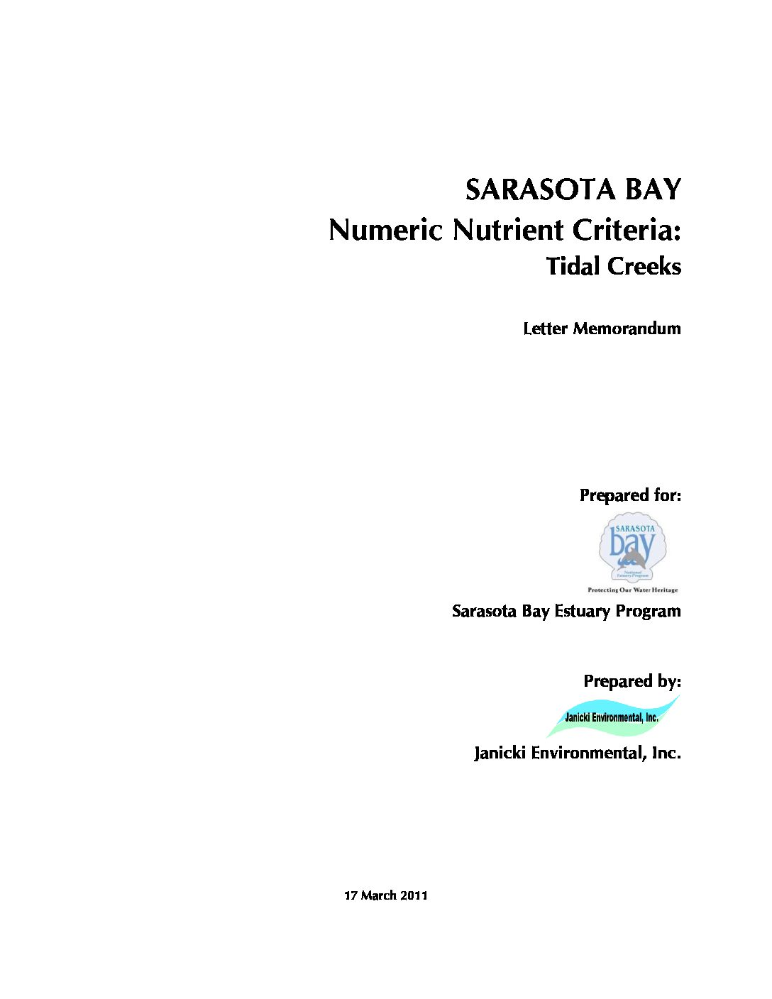 Numeric Nutrient Criteria for Tidal Creeks in the Sarasota Bay Region