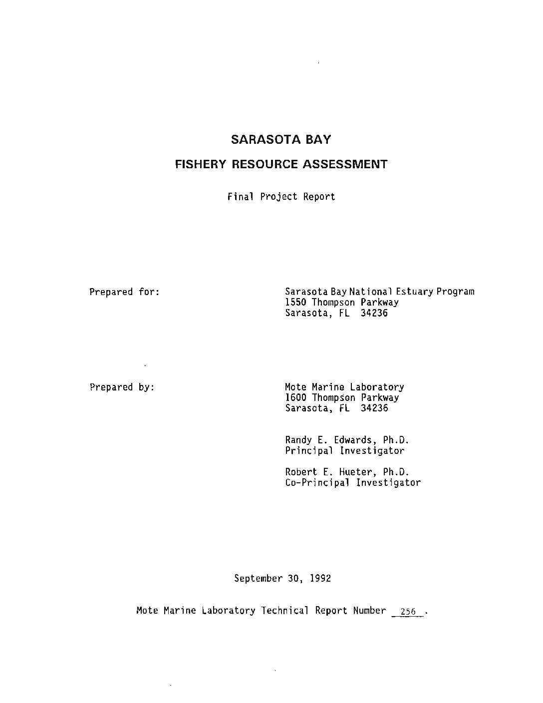 Sarasota Bay Fishery Resource Assessment (1992)