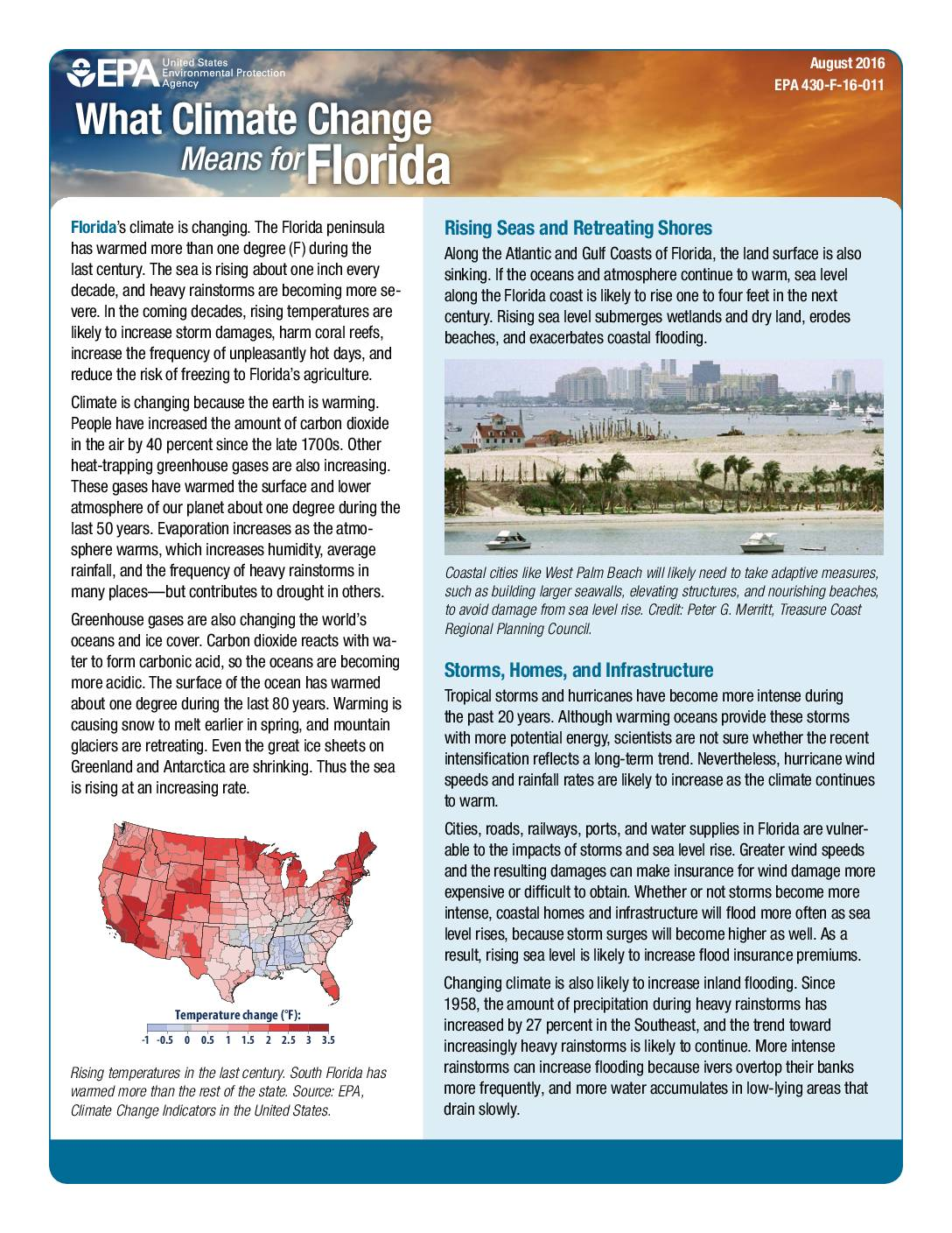 U.S. Environmental Protection Agency: What Climate Change Means for Florida (2016)