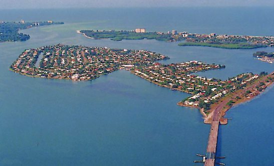 History Bird Key aerial view of bay