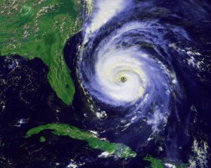 Satellite image of a hurricane east of Florida