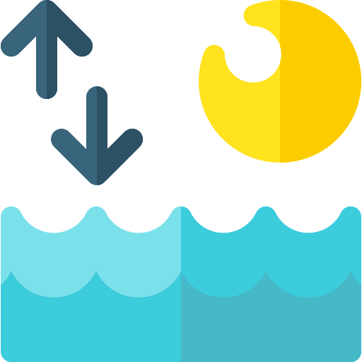 Icon depicting tides and the moon